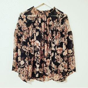 🌞5/$25 Loft Black Tan Floral Flowy Sheer Top